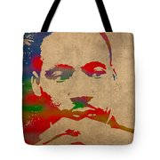 Martin Luther King Jr Watercolor Portrait On Worn Distressed Canvas Tote Bag