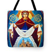Mary And The Holy Church Tote Bag