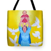 Mary Offers Her Child Jesus To His Father Tote Bag