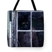 Masked Man Looking Out Window Tote Bag