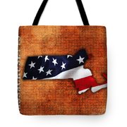 Massachusetts American Flag State Map Tote Bag