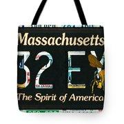 Massachusetts License Plate Tote Bag