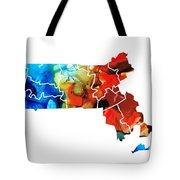 Massachusetts - Map Counties By Sharon Cummings Tote Bag by Sharon Cummings