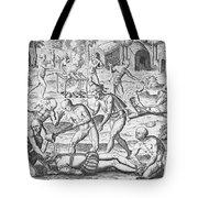 Massacre Of Christian Missionaries Tote Bag by Theodore De Bry
