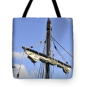 Mast And Rigging On A Replica Of The Christopher Columbus Ship P Tote Bag