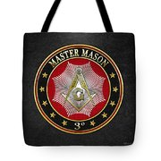 Master Mason - 3rd Degree Square And Compasses Jewel On Black Leather Tote Bag