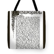 Matted Charcoal Florentine Desiderata Poster Tote Bag