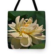 Mature Lotus Flower And Cute Hovering Honeybee Tote Bag