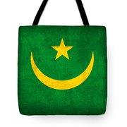 Mauritania Flag Vintage Distressed Finish Tote Bag
