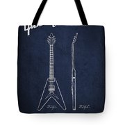 Mccarty Gibson Electric Guitar Patent Drawing From 1958 - Navy Blue Tote Bag