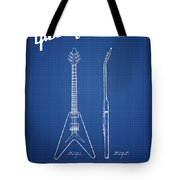 Mccarty Gibson Electric Guitar Patent Drawing From 1958 - Bluepr Tote Bag