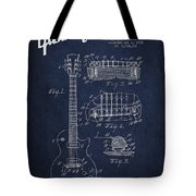 Mccarty Gibson Les Paul Guitar Patent Drawing From 1955 - Navy Blue Tote Bag