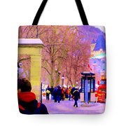 Mcgill Campus Eager Students Enter Roddick Gates Montreal Collectible Art Prints Carole Spandau  Tote Bag