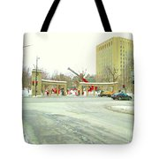 Mcgill University Campus Sherbrooke Street Scene Early Morning Winter Day Montreal Carole Spandau Tote Bag