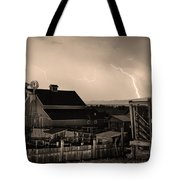 Mcintosh Farm Lightning Sepia Thunderstorm Tote Bag by James BO  Insogna