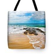 Meandering Waves On Tropical Beach Tote Bag