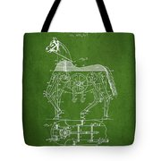 Mechanical Horse Patent Drawing From 1893 - Green Tote Bag