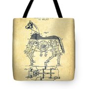 Mechanical Horse Patent Drawing From 1893 - Vintage Tote Bag