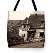 Medieval Cottage In Sarlat Sepia Tote Bag