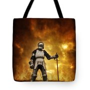 Medieval Knight In Armour On A Burning Battlefield Tote Bag