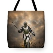 Medieval Knight In Armour On The Attack Tote Bag