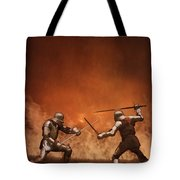 Medieval Knights In Armour Fighting With Swords Tote Bag