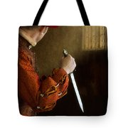 Medieval Man With Dagger Tote Bag