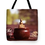 Meditating Buddha Statue Tote Bag