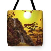 Meditating By A Golden Waterfall Tote Bag