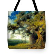 Meet Me At Our Swing Tote Bag by Melissa Herrin