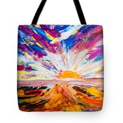 Meeting The Sun Abstract Landscape Tote Bag