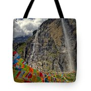 Meili Mountain Sacred Waterfall Tote Bag