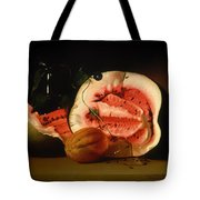 Melon And Morning Glories Tote Bag