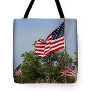 Memorial Day Flag's With Blue Sky Tote Bag