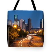 Memorial Drive And Houston Skyline Tote Bag