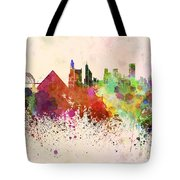 Memphis Skyline In Watercolor Background Tote Bag