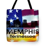 Memphis Tn Patriotic Large Cityscape Tote Bag