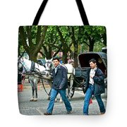 Men And Carriages In A Street Near Saint Sophia's In Istanbul-turkey Tote Bag