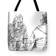 Men At The Cafe Tote Bag