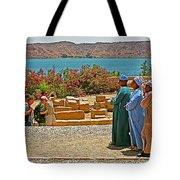 Men On Philae Island In Aswan-egypt  Tote Bag