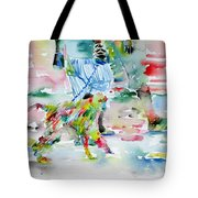 Men With Chained Monkey Tote Bag