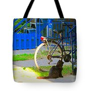 Meow Cat In Verdun Waiting By The Step Beautiful Summer Montreal Pet Lovers City Scene C Spandau Tote Bag