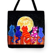 Meowing At Midnight Tote Bag