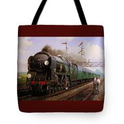 Merchant Navy Pacific At Brookwood. Tote Bag by Mike  Jeffries