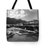 Merchants Wharf In Black And White Tote Bag