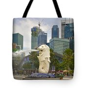 Merlion Park In Singapore Tote Bag