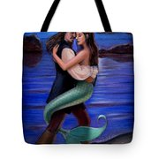 Mermaid And Pirate's Caribbean Love Tote Bag