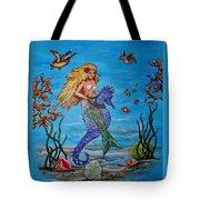 Mermaid And Seahorse Morning Swim Tote Bag