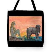 Mermaid Newfoundland Dog Sunset Cathy Peek Art Tote Bag