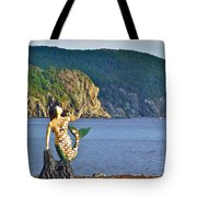 Mermaid On A Dock In Twillingate Harbour-nl Tote Bag